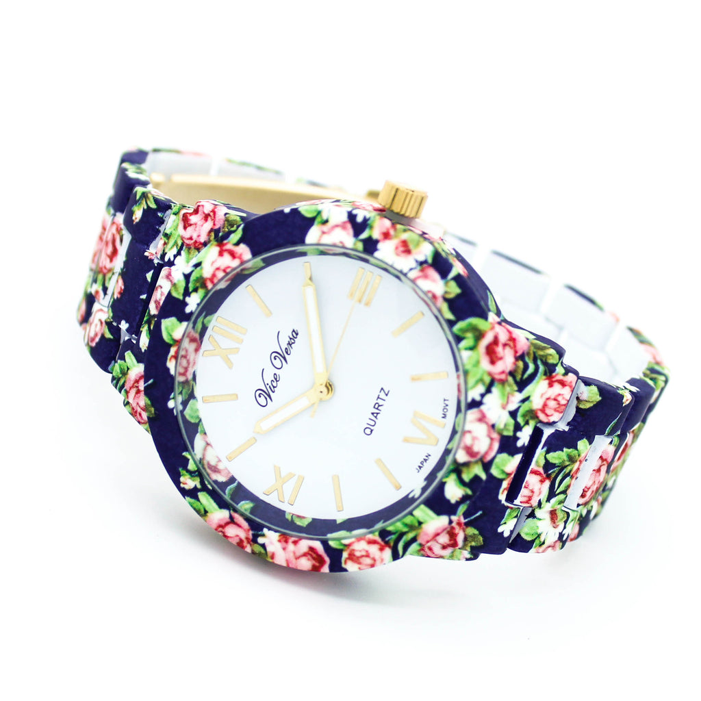 Flower print watch (3 colors)