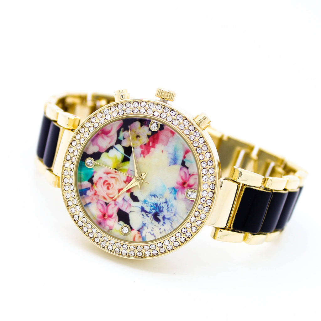 Flower face metal watch (2 colors)