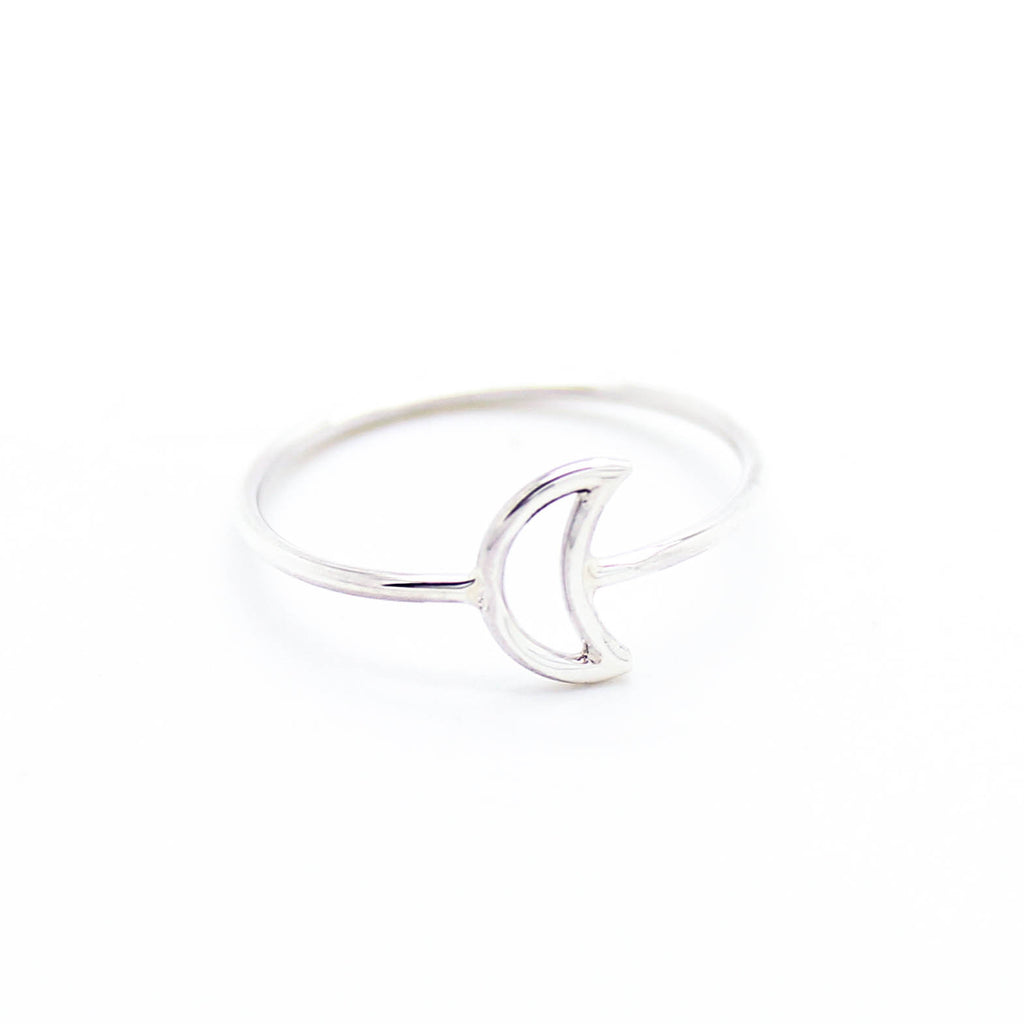 Moon sterling silver ring