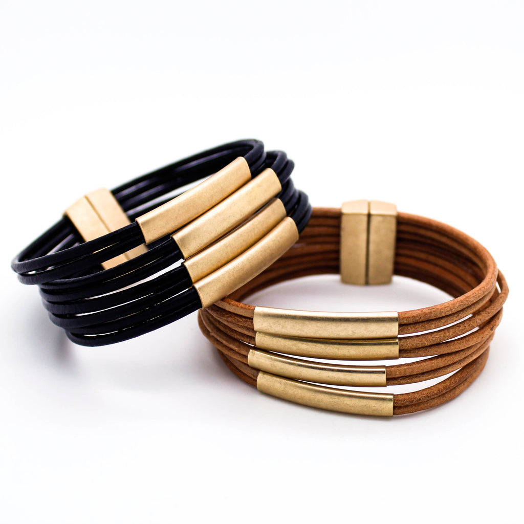 Multi bar leather bracelet