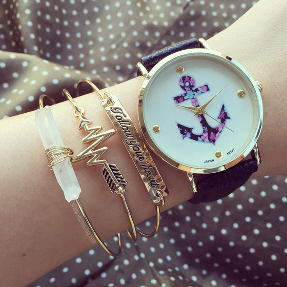 Anchor flower watch (2 colors)