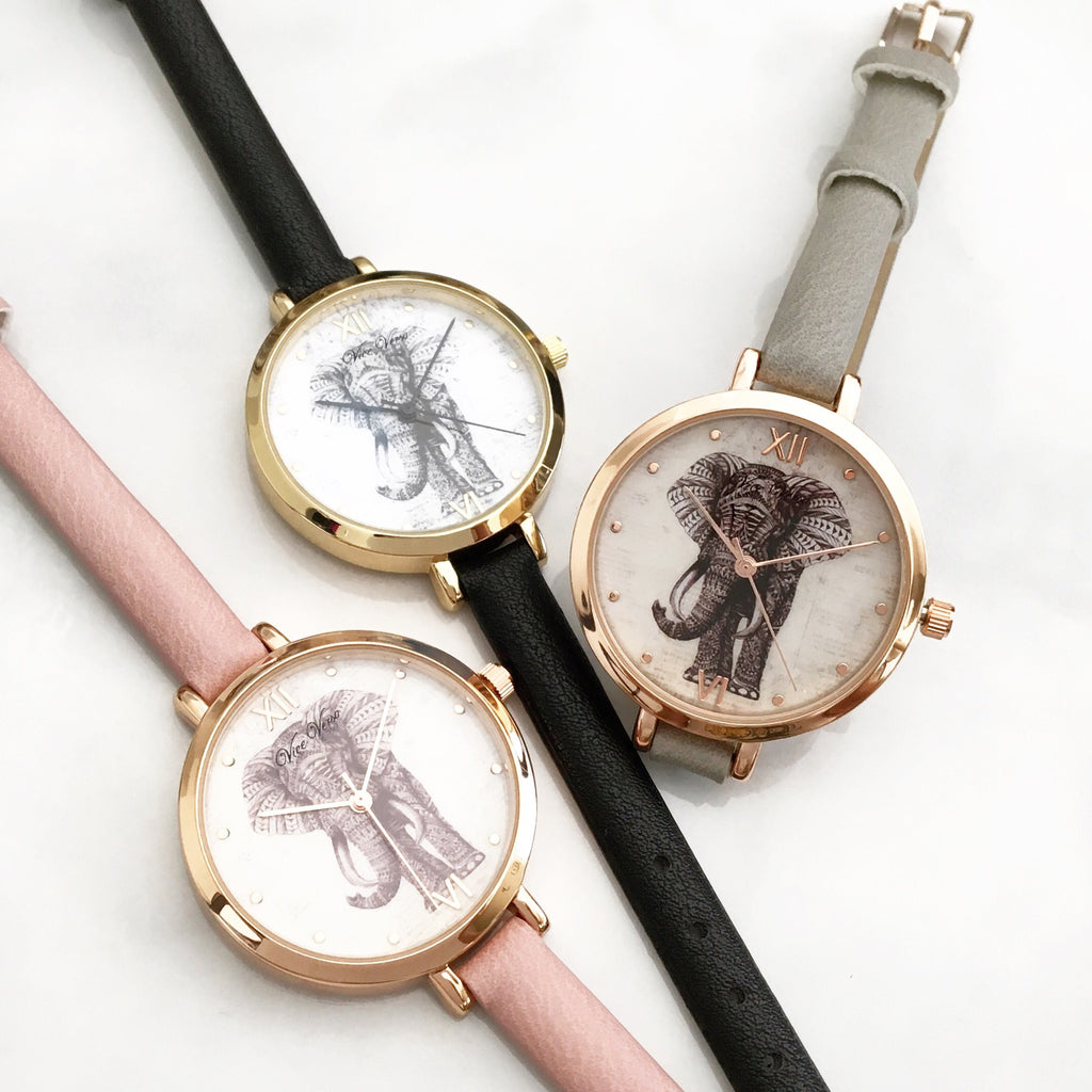 Elephant strap watch (3 colors)