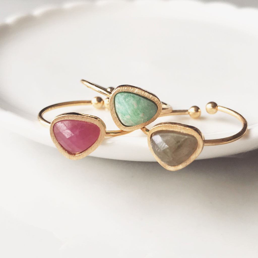 Dainty natural stone ring