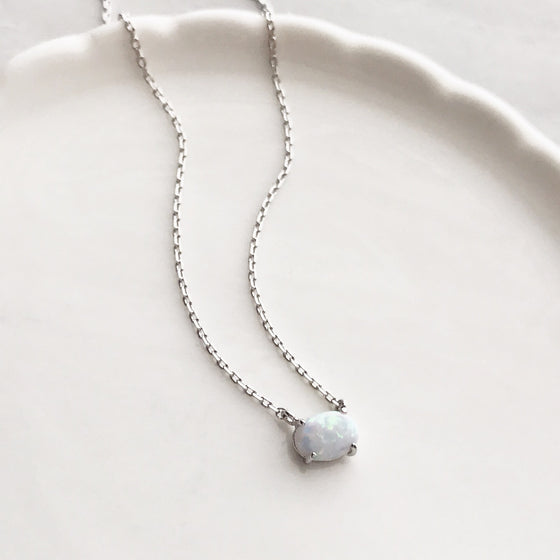 Opal stone necklace