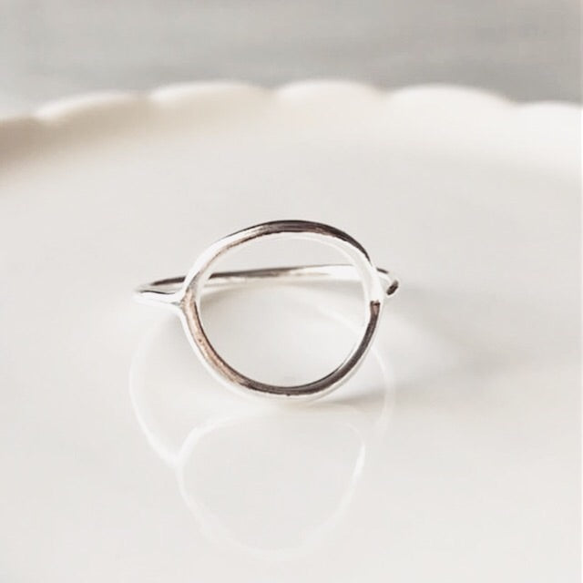 Eternity circle sterling silver ring