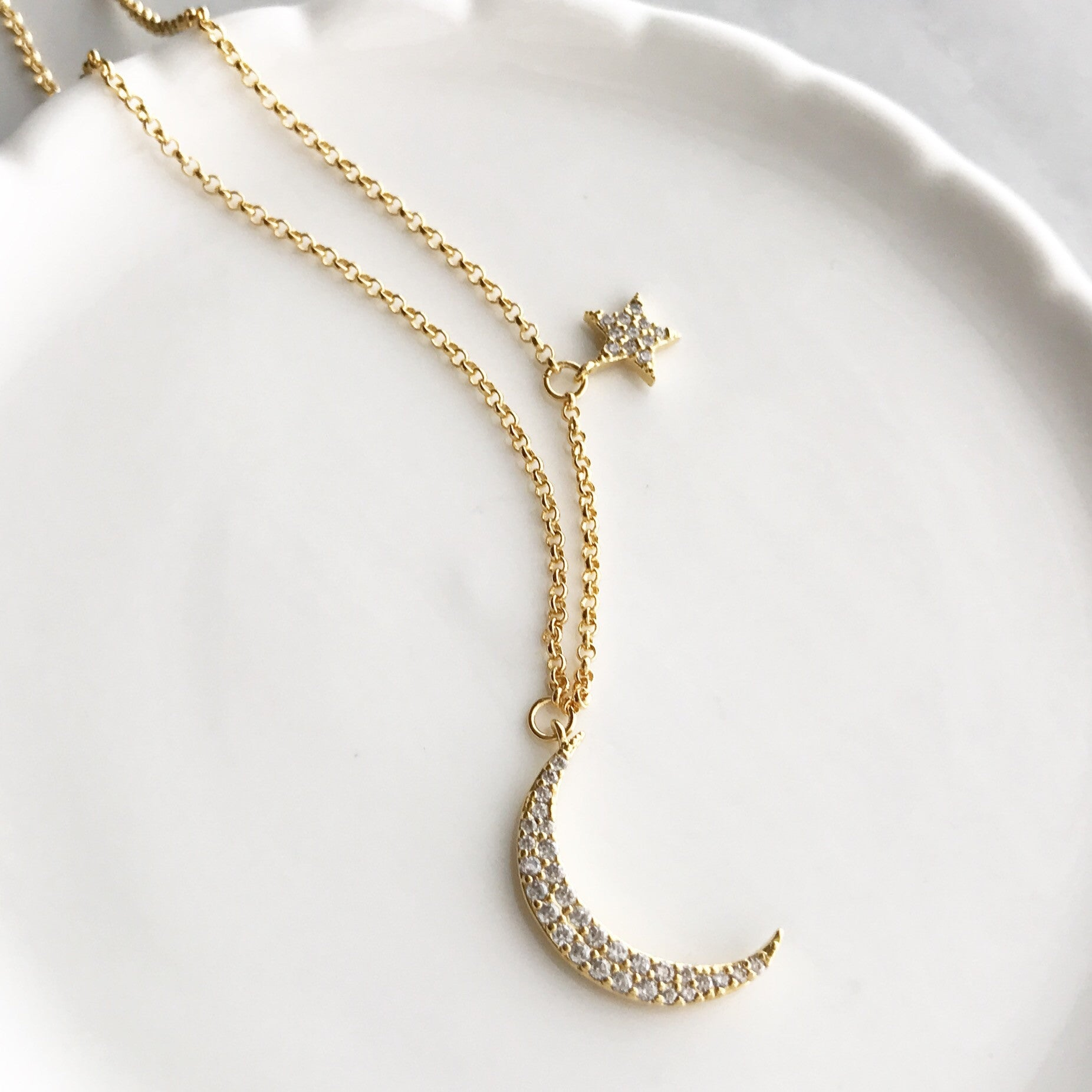 Crescent moon star necklace imsmistyle crescent moon star necklace mozeypictures Gallery