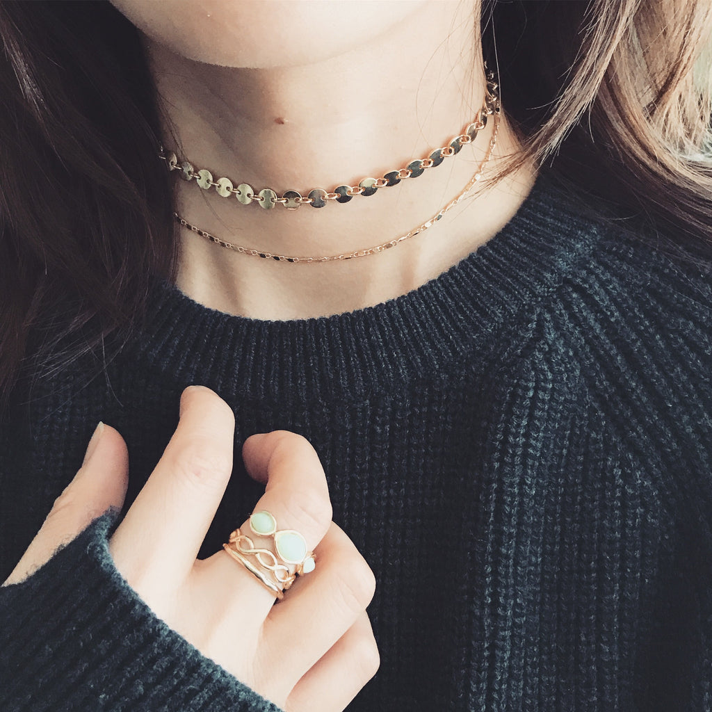 Celestial coin layer choker