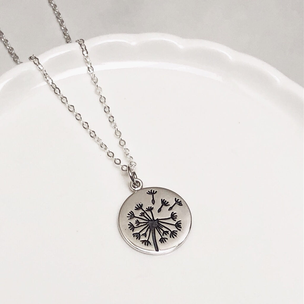 Dandelion Wish sterling silver necklace