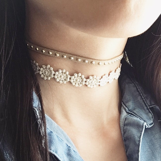 flower stud choker necklace set
