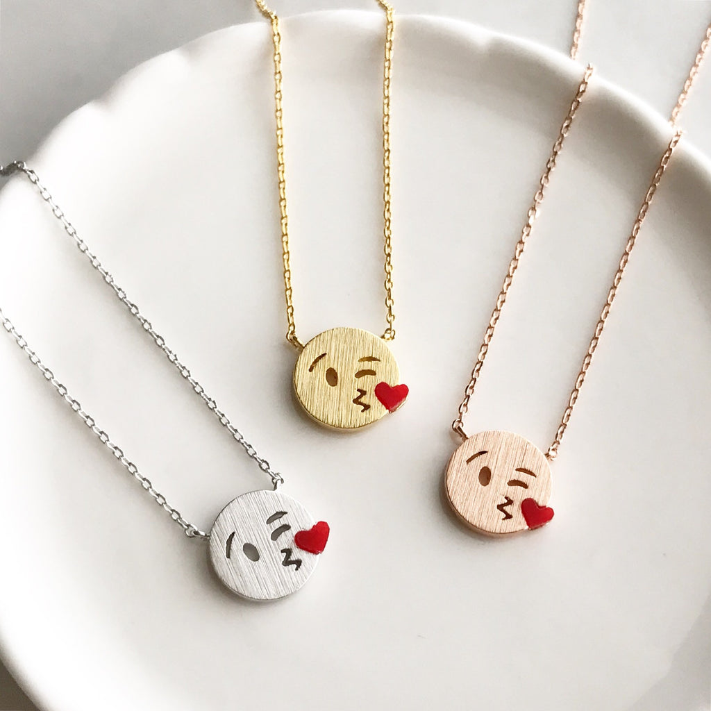 Kissy emoji necklace