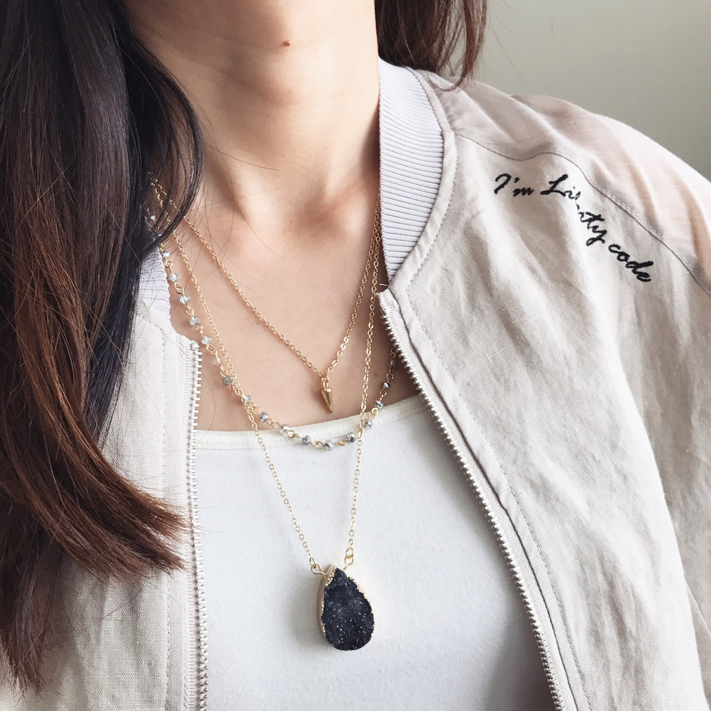 Druzy stone layer necklace
