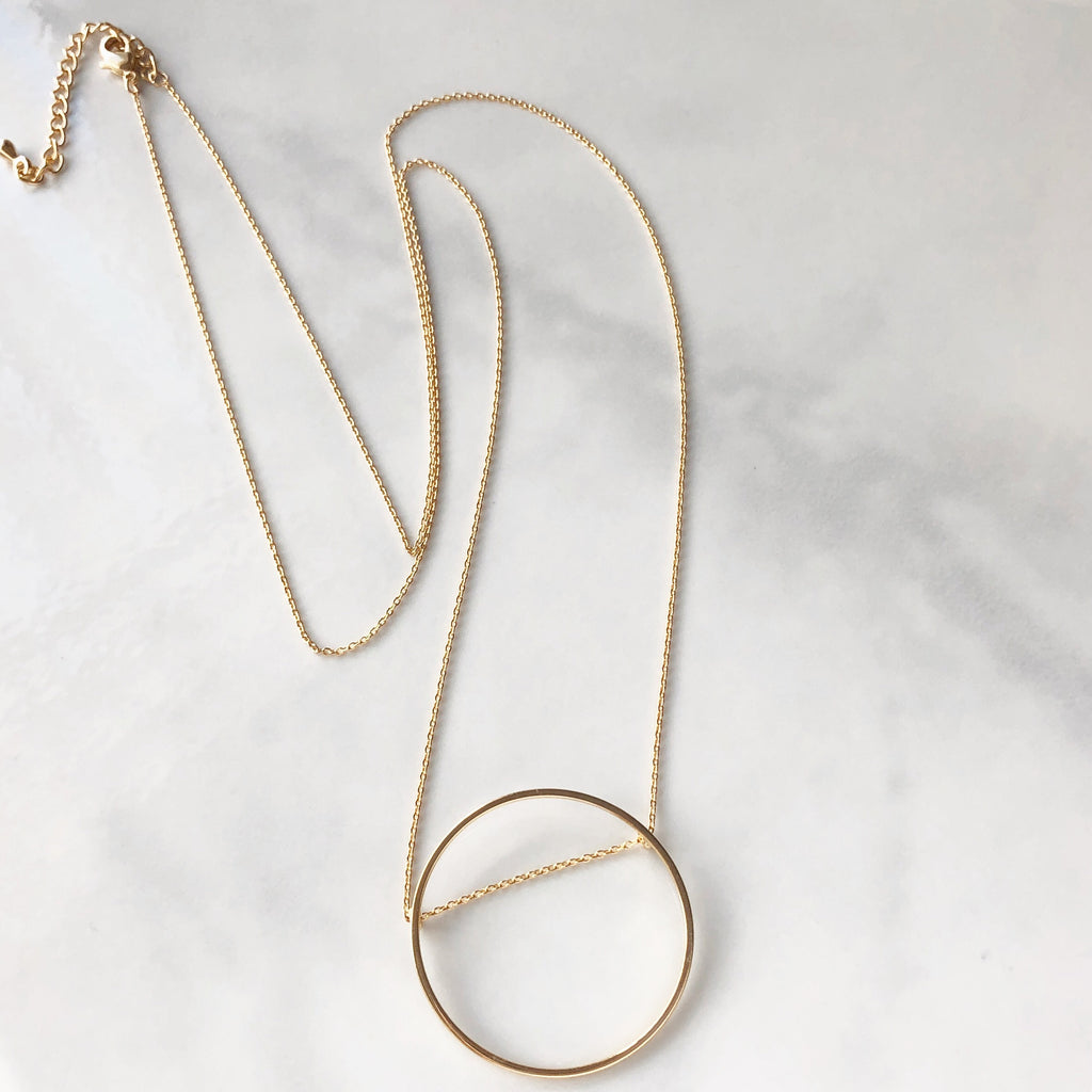 Open circle long necklace