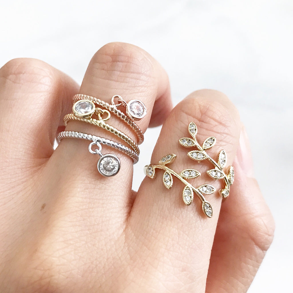 Dainty charm ring