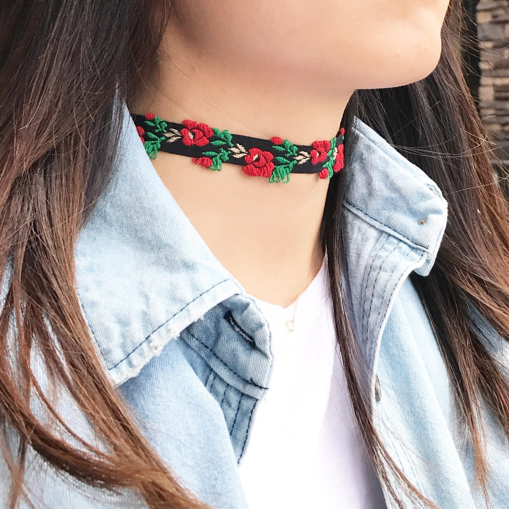 Flower choker necklace set