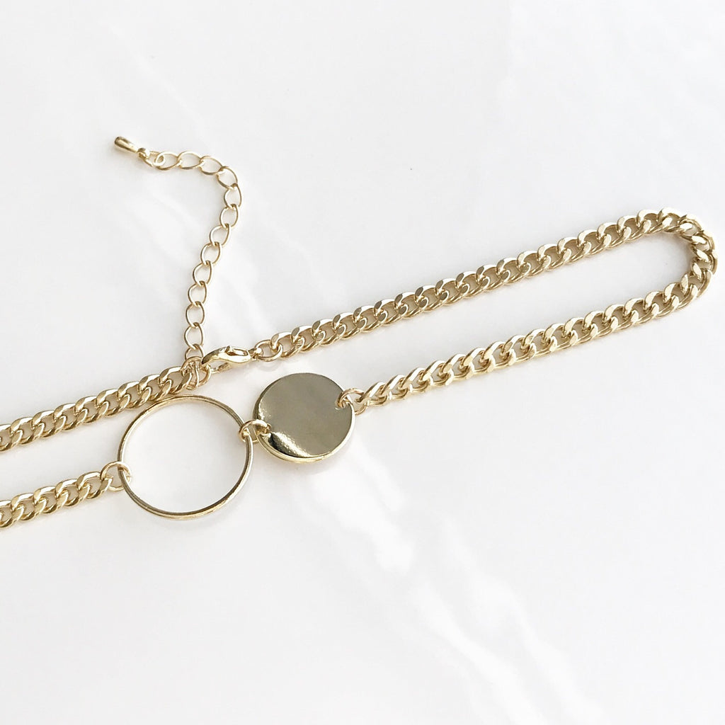 Double circle choker necklace