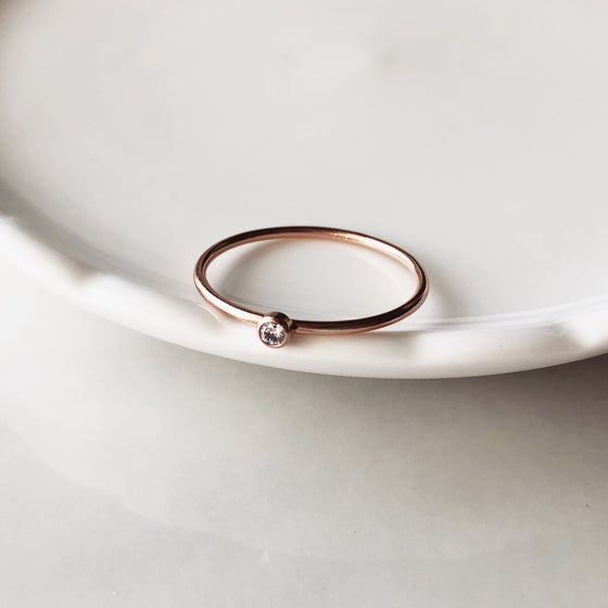 Dainty cz rose gold filled ring