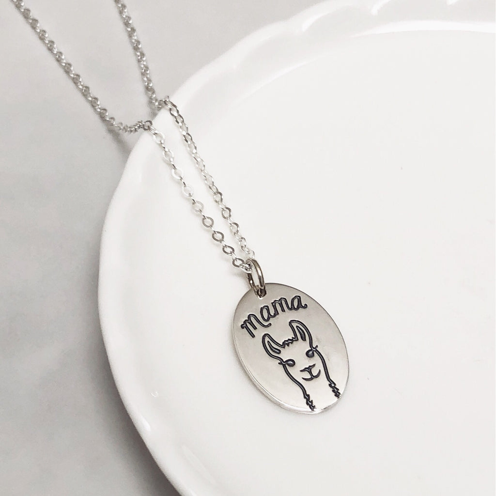Mama Llama sterling silver necklace