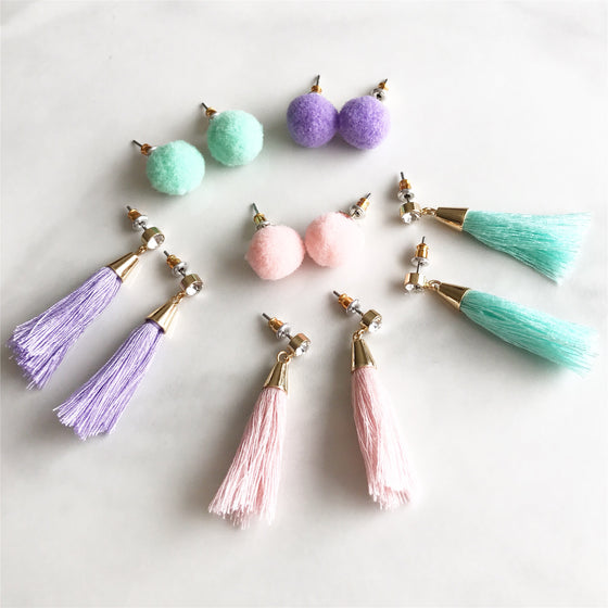 Pastel tassel earrings set