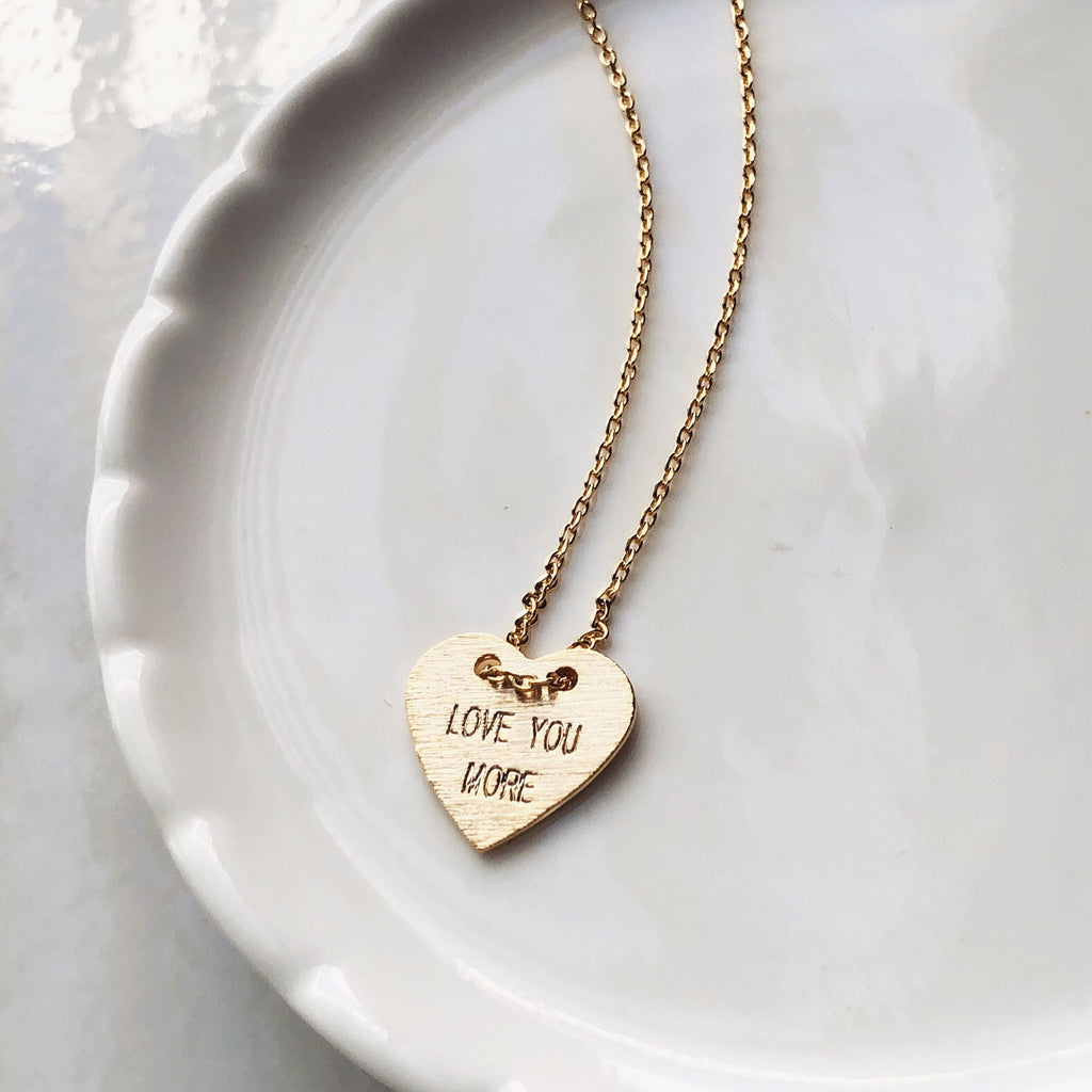 Love you more heart necklace