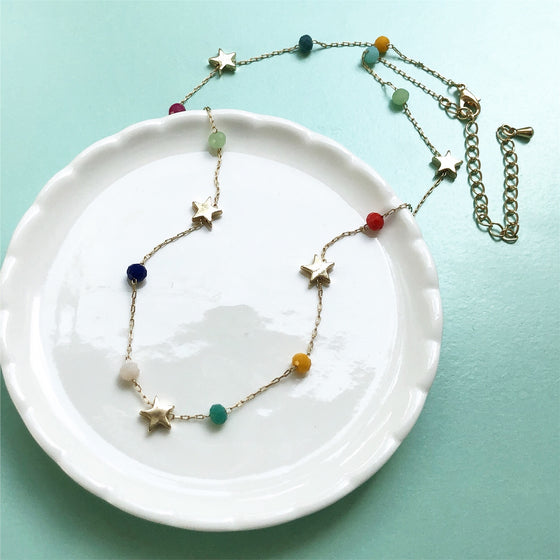 Star color beads necklace