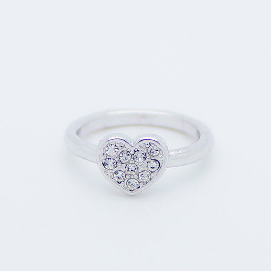Heart with rhinestones knuckle, midi ring