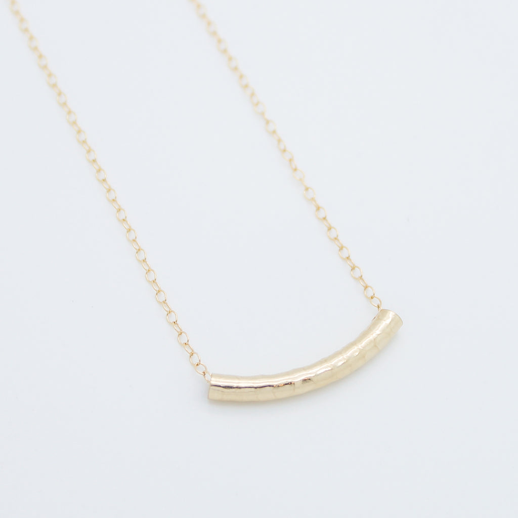 Hammered curved tube necklace