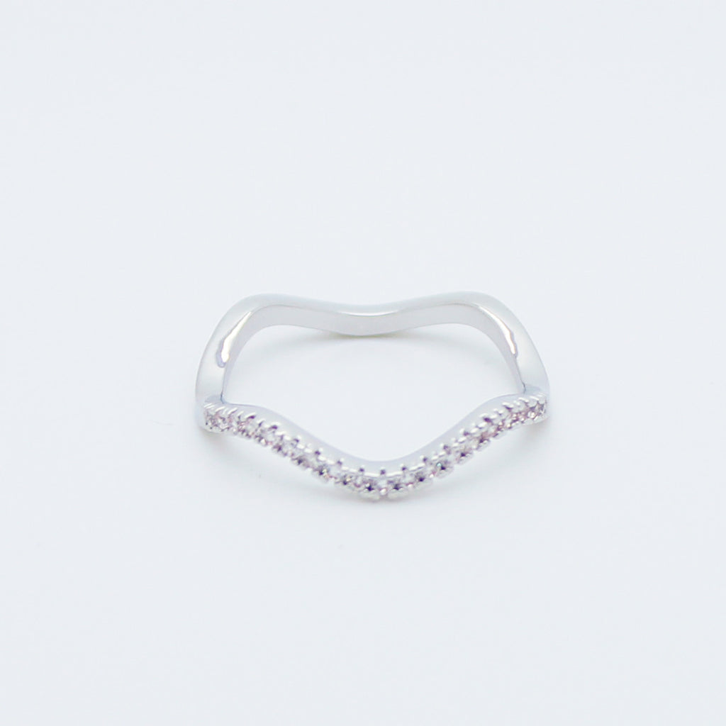 Wave rhinestones ring