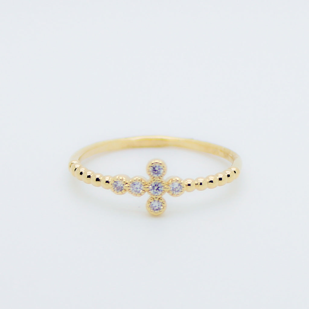 Cross with rhinestones ring