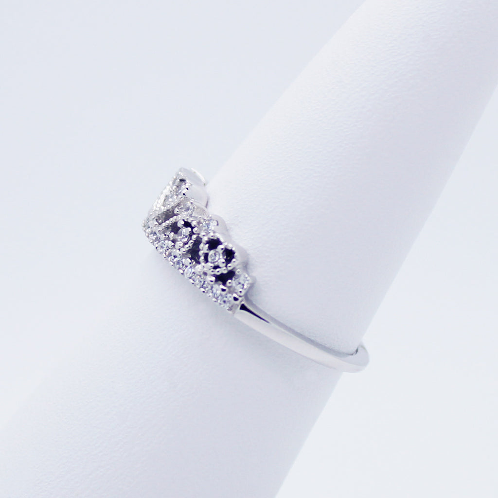 Heart crown sterling silver ring