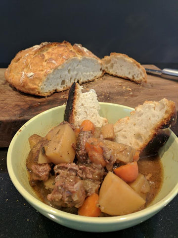 no knead duch oven bread with crock pot beef stew