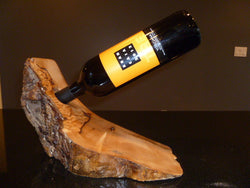 wood burl wine holder