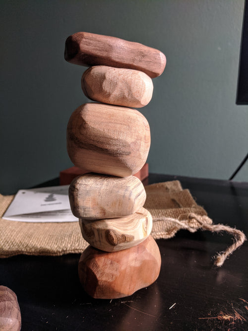 Stacking Wooden Zen Rocks