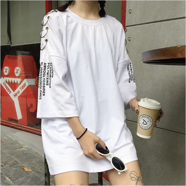 Ringed-to-style Text Print Oversized T-shirts