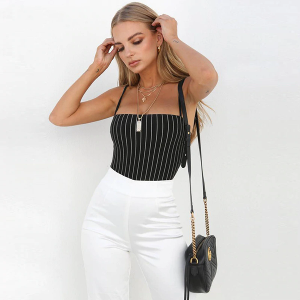 Spaghetti Strap Bodysuit With Vertical Stripes