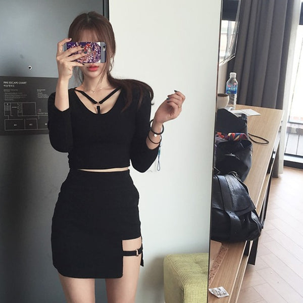 Korean Exposed Hem Pencil Mini Skirt