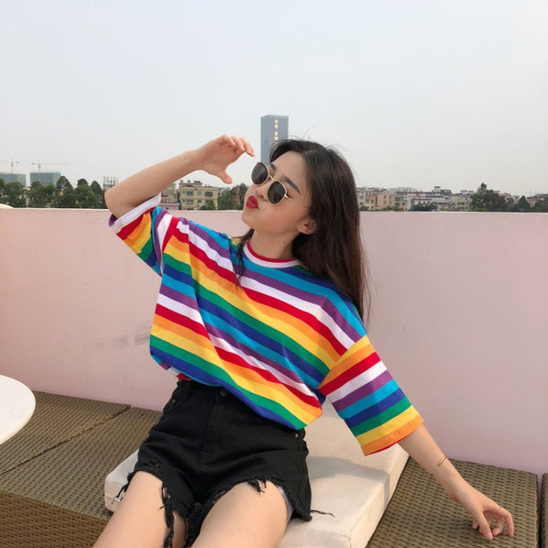 Rainbowed-to-style Striped T-shirt