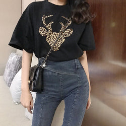 Leopard Texture on Deer Print T-shirt