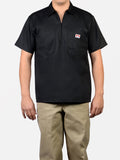 Short Sleeve Solid Black 1/2 Zip Shirt 124