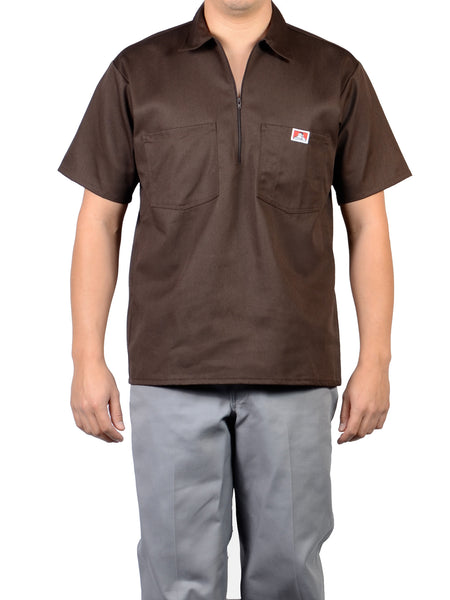 Short Sleeve Solid Brown 1/2 Zip Shirt 127