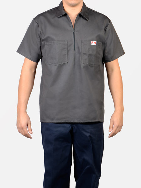 Short Sleeve Solid Charcoal 1/2 Zip Shirt 183