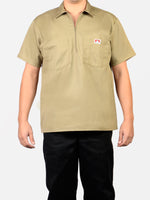 Short Sleeve Solid Khaki 1/2 Zip Shirt 122