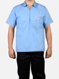Short Sleeve Solid Light Blue 1/2 Zip Shirt 150
