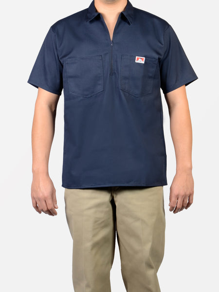Short Sleeve Solid Navy 1/2 Zip Shirt 168