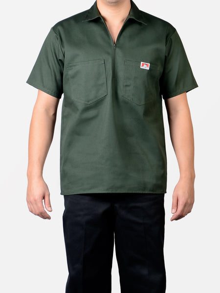 Short Sleeve Solid Olive 1/2 Zip Shirt 125