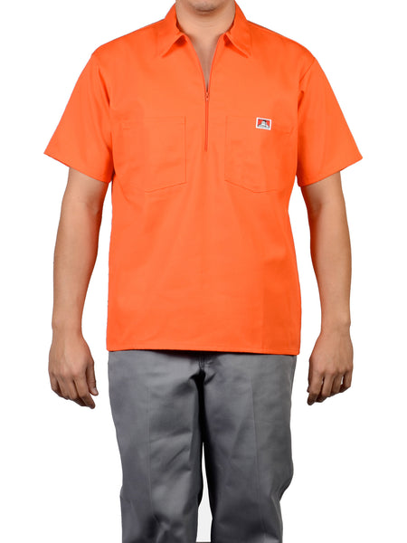 Short Sleeve Solid Orange 1/2 Zip Shirt 126