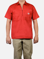 Short Sleeve Solid Red 1/2 Zip Shirt 129