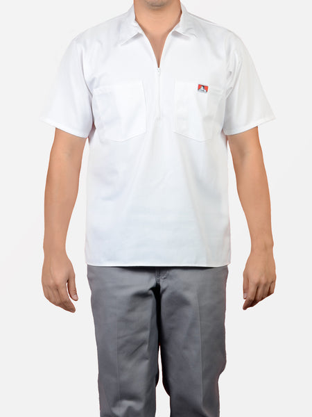 Short Sleeve Solid White 1/2 Zip Shirt 121