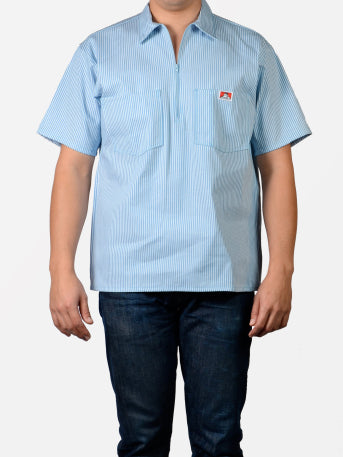 Short Sleeve Blue Stripe 1/2 Zip Shirt 170