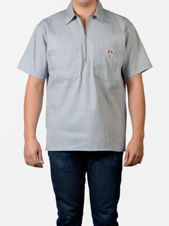 Short Sleeve Grey Stripe 1/2 Zip Shirt 179