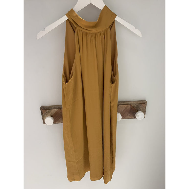 JT-Satin mock neck dress w/back keyhole